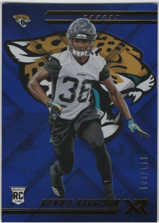 hot sales a8ef5 62998 Details about 2018 Panini XR Football Blue Parallel /199 RC #141 Ronnie  Harrison Jaguars